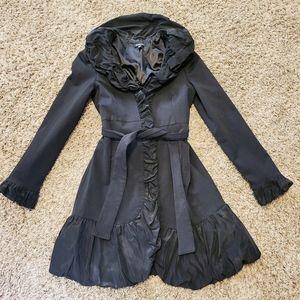 Bebe Black Ruffle Coat